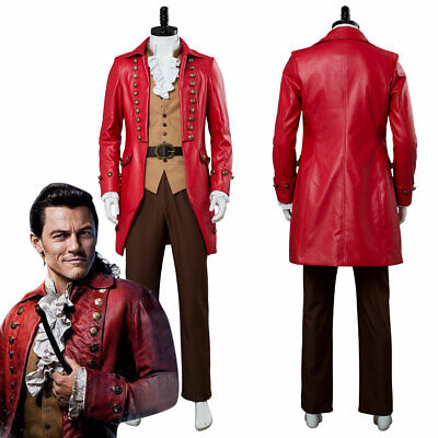 Beauty and the Beast Gaston Cosplay Luke Evans Costume Red Halloween Coat Suit
