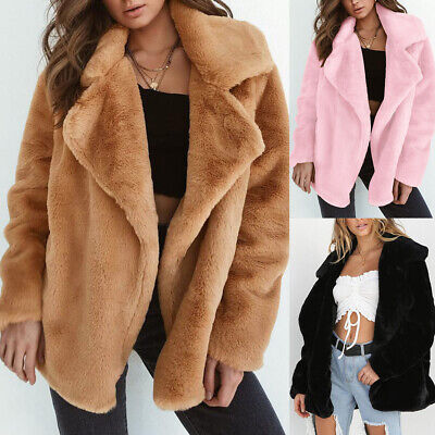 New Winter Solid Color Fashion Women Loose Warm Faux Fur Lapel Long Sleeve Coat Clothing, Shoes & Accessories