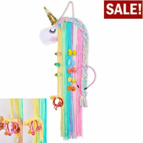 Rainbow Unicorn Hair Bow Holder Organizer for Girls Hair Clips Ties Hanger NEW