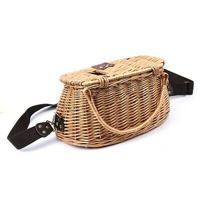 Willow Fish Basket Creel Wicker Vintage Traps W/ Strap Bamboo Durable.