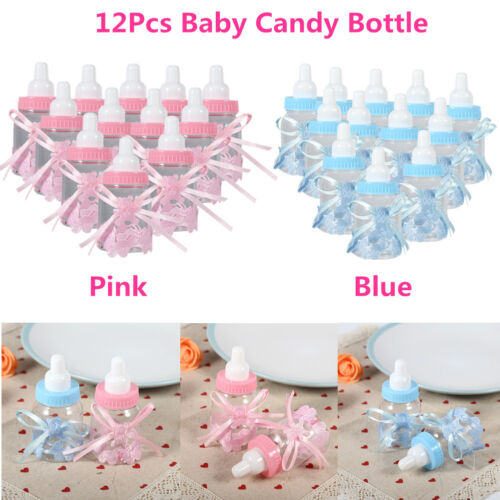 12Pcs Fillable Candy Bottles Box For Girl Boy Baby Shower Pa