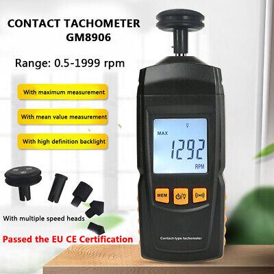 Gm8906 Digital Contact Tachometer Speed Tach Meter Rpm Gauge 0.519999 Handheld