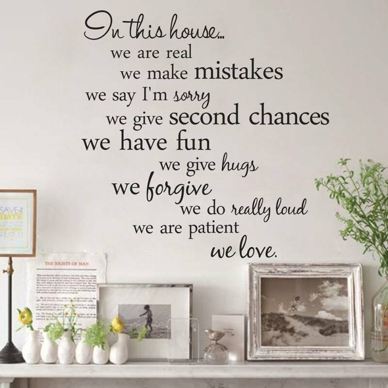 Home Decoration - In This House Family Rules Vinyl Wall Sticker Bedroom Home Decal Art Removable
