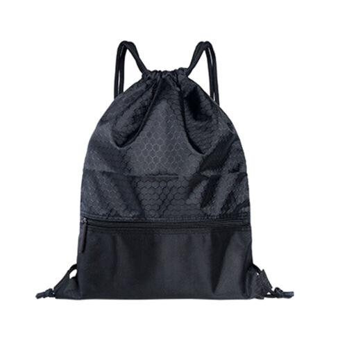 Nylon Drawstring Backpack Bag String Waterproof Sackpack Out