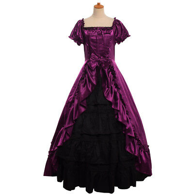 Women Civil War Southern Belle Prom Dress Victorian Period Ball Gown 4 Colors