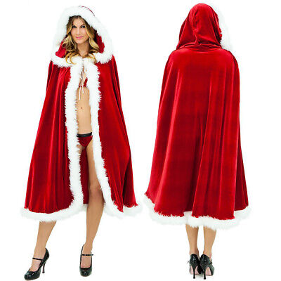 Women's Christmas Santa Claus Hooded Cloak Cape Xmas Party Cosplay Robe Costume