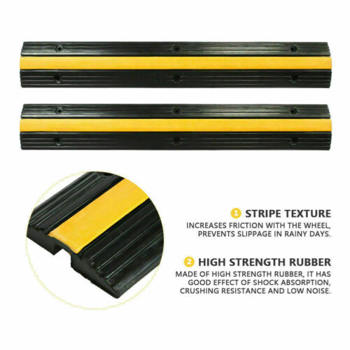 2X Road Speed Bump hump Cable Rubber Vehicle Wire Cable Cover Ramp Protector US