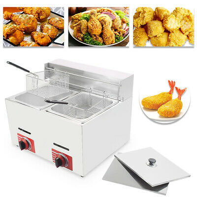 Countertop Gas Fryer Commercial Gf-72 Propanelpg 20l Wmetal Tube 2 Baskets