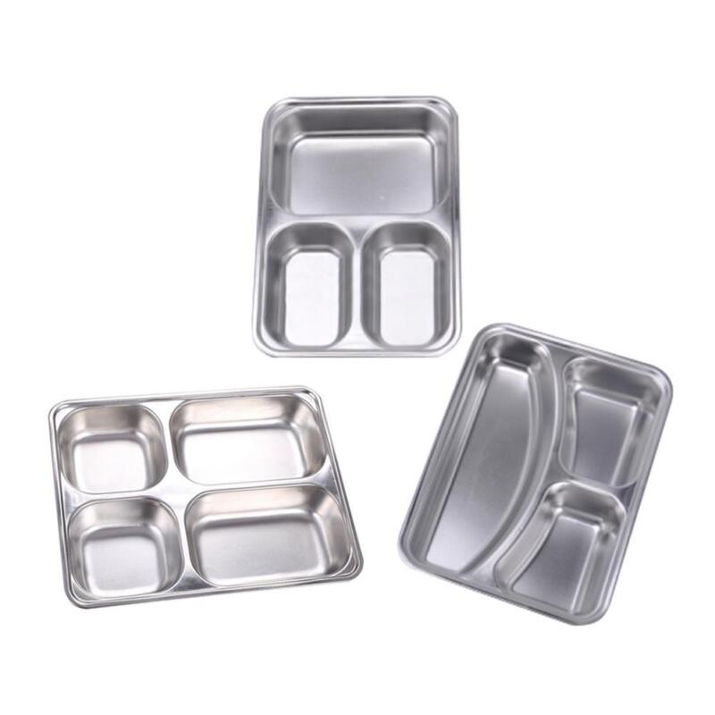 Stainless Steel Divided Dinner Tray Kids Lunch Container Foo