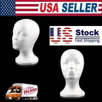 White Foam Female Mannequin Head Wigs Glasses Cap Display Holder Stand Model Us