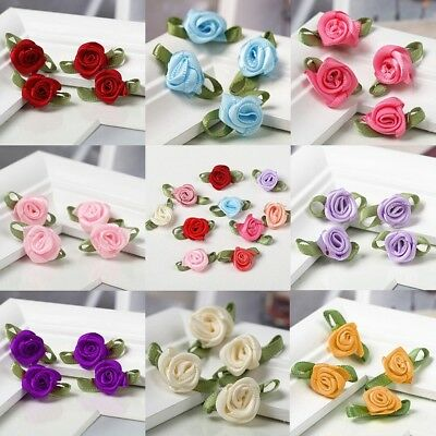 100pcs Mini Satin Ribbon Flowers Rose Leaf Wedding Decor Sewing Appliques DIY - Diy Ribbon Flowers