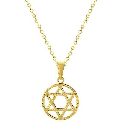 18k Gold Plated Jewish Star of David Medal Pendant Women's Necklace 19