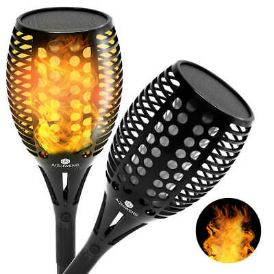 Solar Powered LED Flame Outdoor Torch Lights | Flickering Flame Tiki Torch Lamp