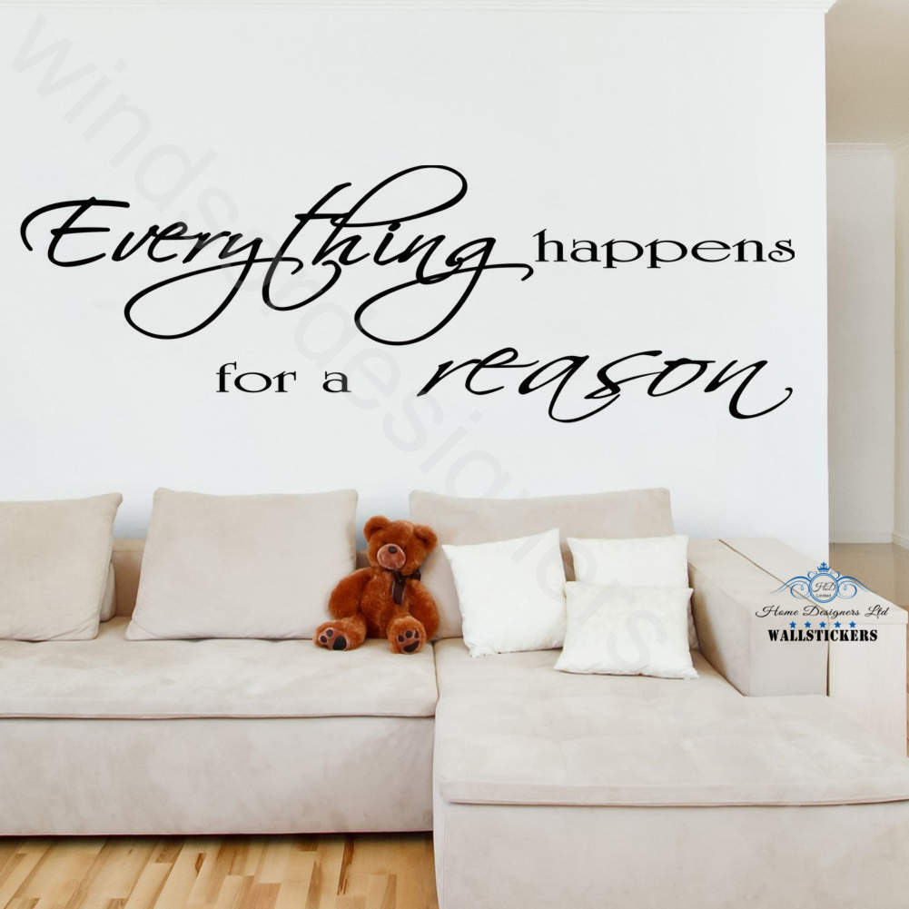 everything happens for a reason wall art sticker quote decor large wall sticker