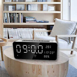 Portable LED Bluetooth Speaker W/ FM Radio Alarm Clock USB Micro SD TF AUX MP3