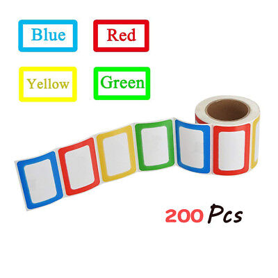 1 Roll Colorful Plain Name Tag Labels 200 Stickers for School Office Home Party