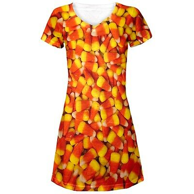 Candy Dresses For Halloween (Halloween Candy Corn Juniors V-Neck Beach Cover-Up)