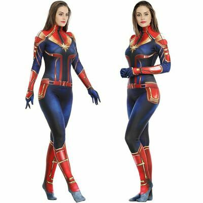 Captain Marvel Lycra Jumpsuit Carol Danver Cosplay Costume One-piece Bodysuit](Marvel Women Costume)