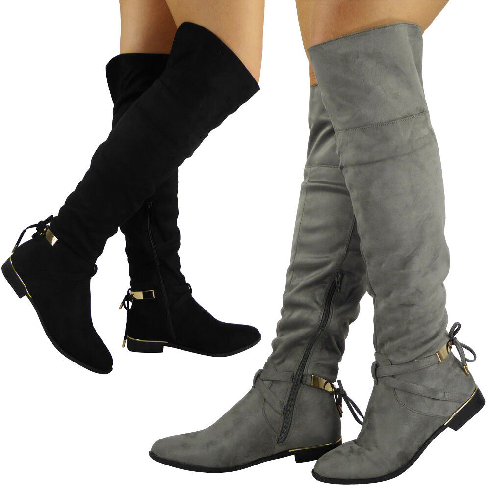 Womens Thigh High Heel Stretch Leg Lace Up Ladies Over The Knee Long Boots
