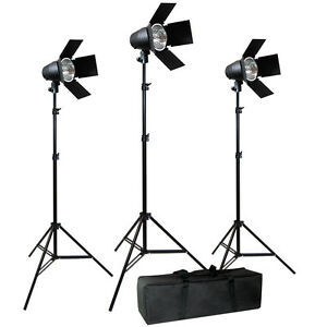 Video Photography Studio Film 3 Barndoor Tungsten Film Video Lighting Kit Case