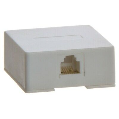 1 Port Telephone Phone Surface Mount Box Wall Plate Jack RJ12 RJ11 6P6C White Surface Mount Box 12 Port