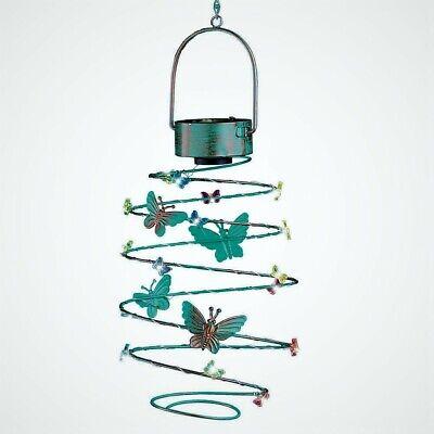 Solar Lighted Hummingbird Lantern Spiral Wind Spinner Outdoor Garden Decor