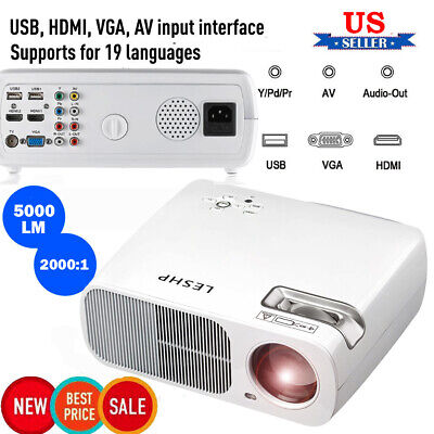 5000 lumens LED 3D 4K HD 1080P Projector Multimedia Home Theater Cinema HDMI/USB