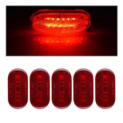 """5) 4""""x 2"""" Red Truck Trailer Boat RV Light 6LED Clearance Side marker Light 12V"""