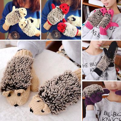 US Women Winter Warm Wrist Gloves Fleece Cartoon Cartoon Hedgehog Fur Mittens