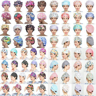 Women's Doctor/Nurse Printing Scrub Surgery Medical Surgical Bouffant Hat Cap