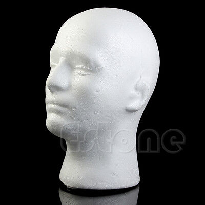 Male Mannequin Styrofoam Foam  Manikin Head Model Wig Glasses Hat Display Stand