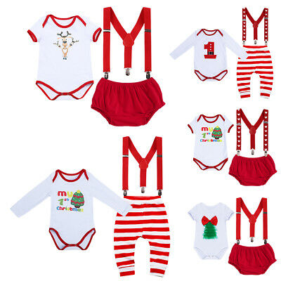 Newborn Baby Boy Girl 1st Christmas Romper +Suspender +Pants 3PCS Outfit Clothes](Christmas Girl Outfit)