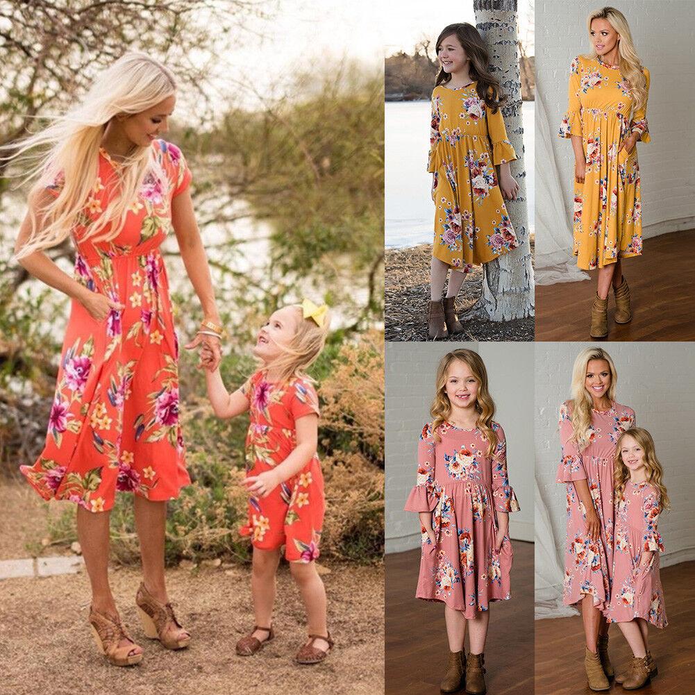 Summer Family Clothes Mother Daughter Beach Sundress Women Kids Girls Long Dress