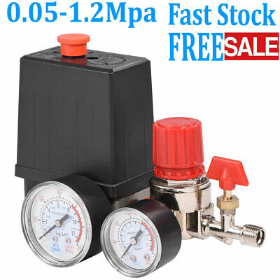 Air Compressor Pressure Switch 90-120psi Control Valve Manifold Regulator Gauges
