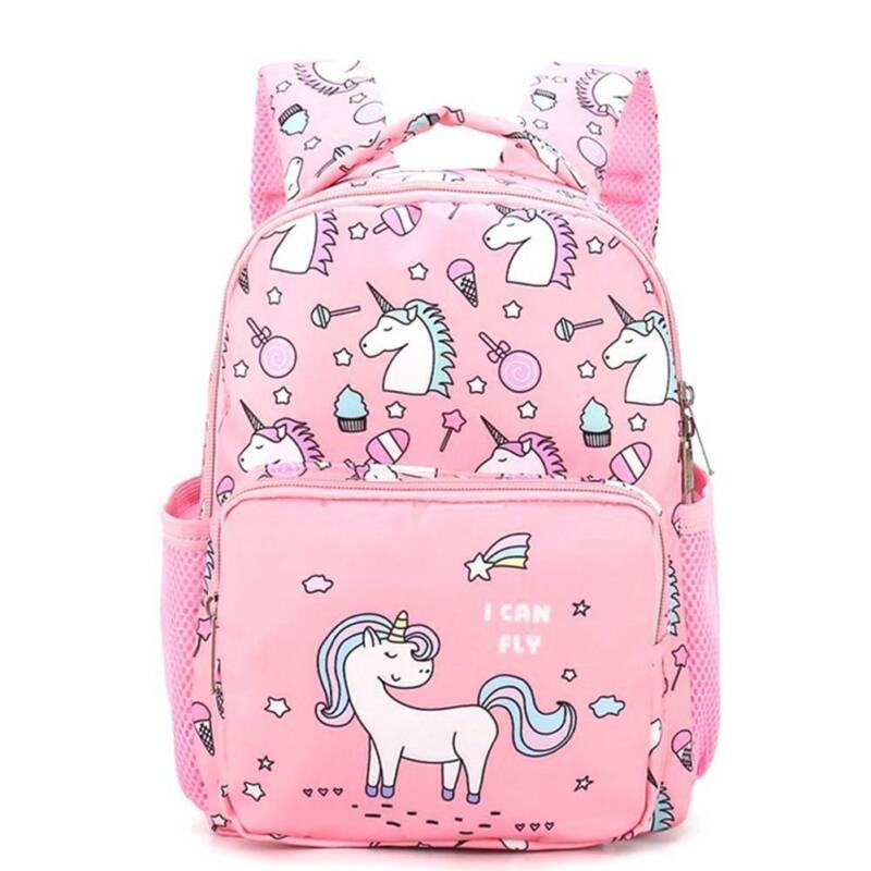 Unicorn Backpack Canvas Girls School Shoulder Bag Rucksack T