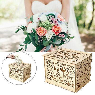 Rustikale Holzkiste Hochzeitskarte Box Sperre Holz Hohl Sammlung Karte Ring Box ()
