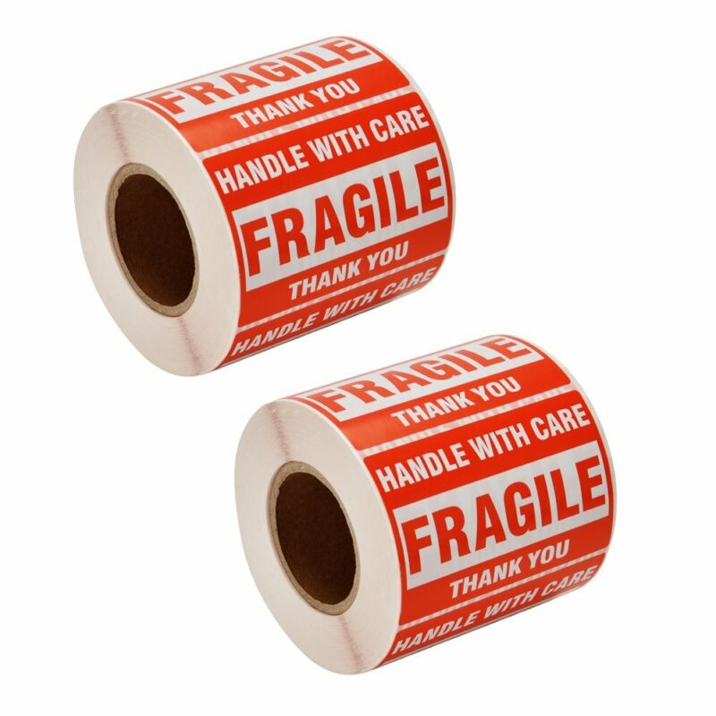 1000 Fragile Stickers 2x3 Handle with Care Thank You 500 / Roll Warning Labels