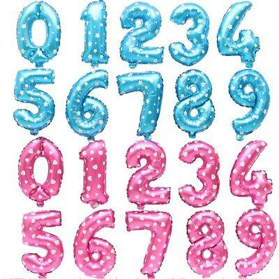 Zahl Luftballon XL 75CM Nummer Folienballon Kinder Geburtstag Deko Blau Rosa