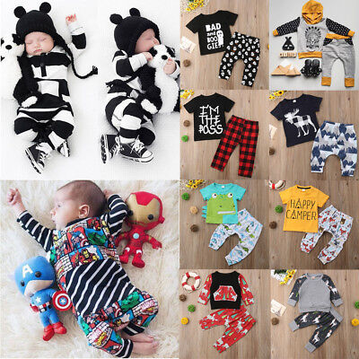US Seller Newborn Baby Boy Romper T-shirt Top+Long Pants Outfit Set Kid Clothes