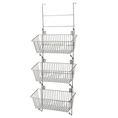 3 Tier Over the Door Hanging wall Mount  Basket Metal Wire Storage Bin Organizer