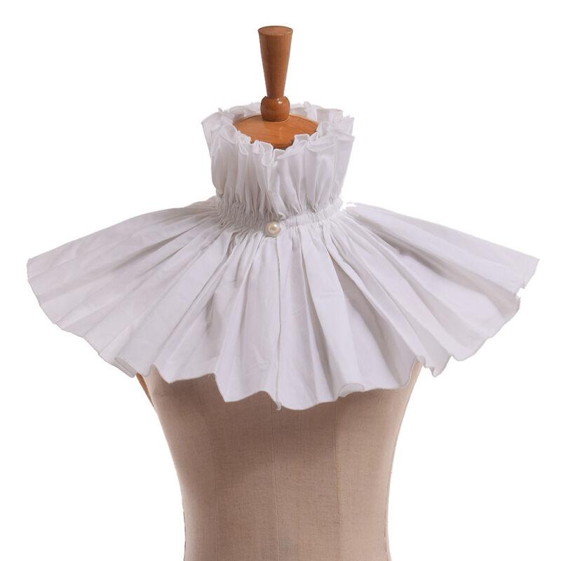 Victorian Steampunk White Neck Collar Circus Clown Dress Detachable Collar