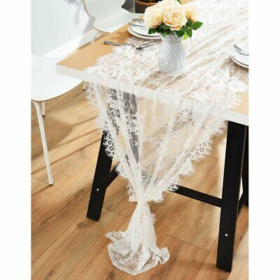 Vintage Lace Wedding Table Runner White Floral Rustic Wedding Party Table Decor ()