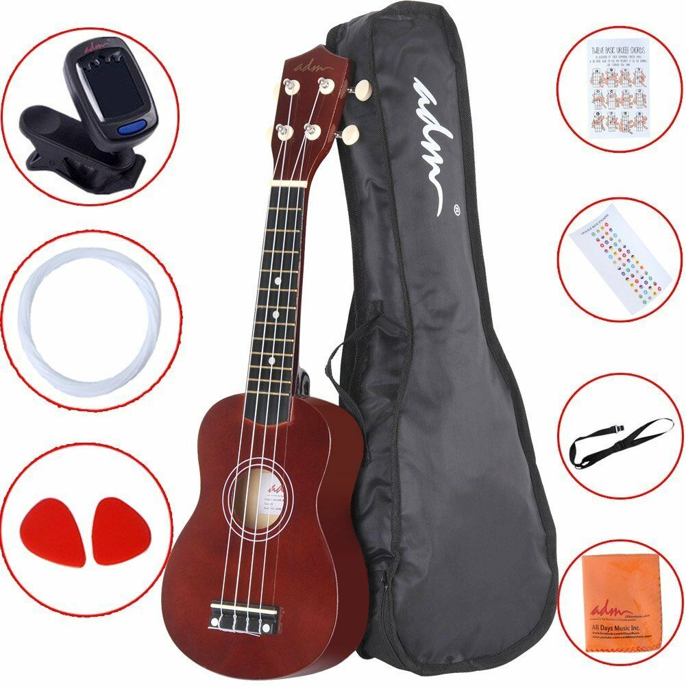 "ADM 21"" Economic Soprano Ukulele Start Pack with, Strings, Gig bag, Tuner, Brown"