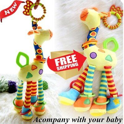 Infant Baby Development Soft Giraffe Handbells Rattles Handle Toys Bed Bell Best