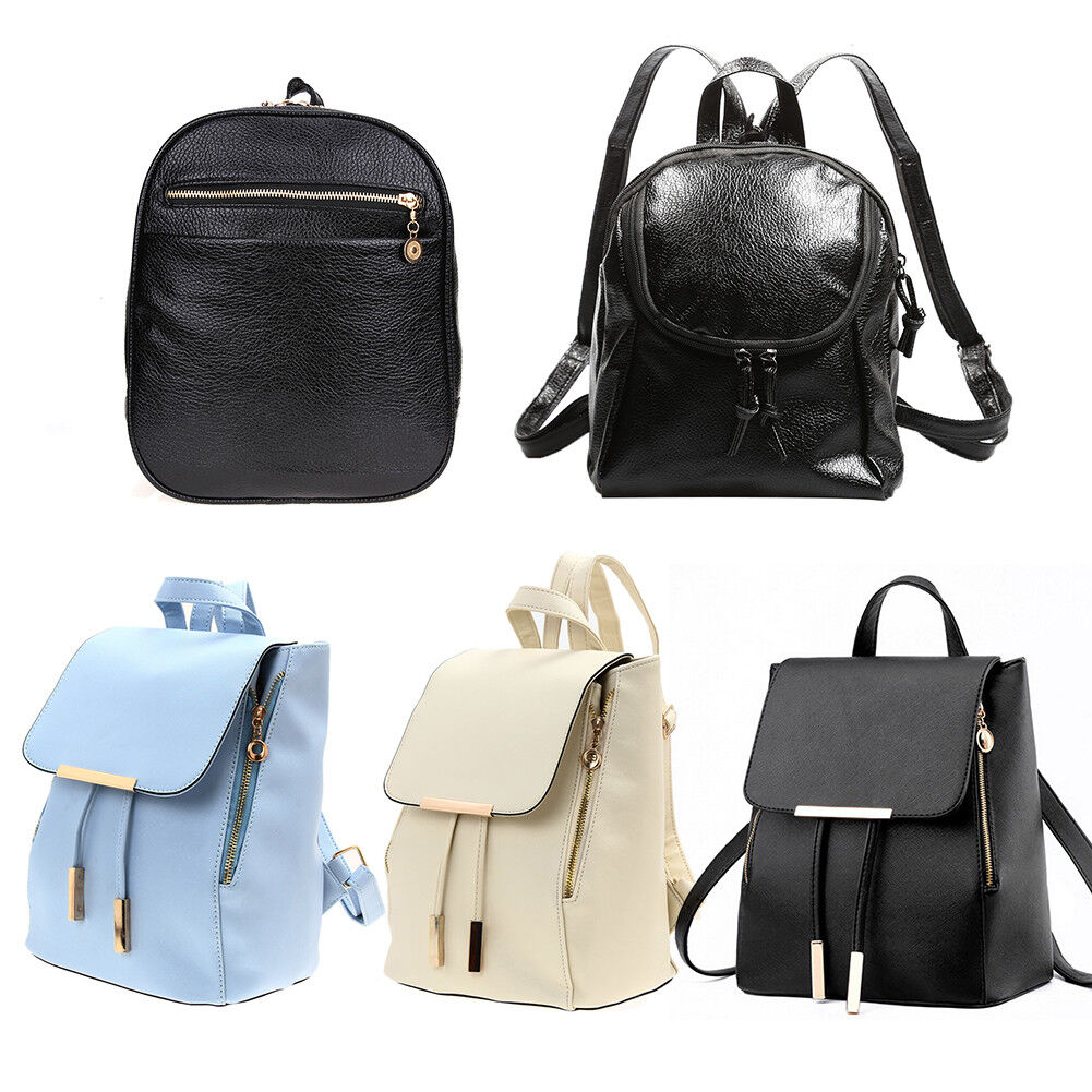 Women Ladies Shoulder PU Backpack Rucksack School Travel Bag A5 Paper Light