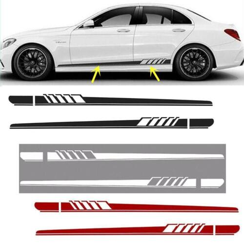 2Pcs Car Side Body Vinyl Decal Sticker Racing Long Stripe Decals Graphics New