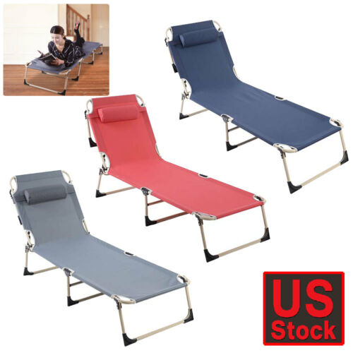 Folding Chaise Lounge Chairs Beach Recliner Patio Pool Campi