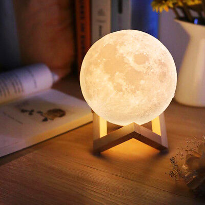 New 3D Moon Night Light Fare Lamp USB Charging Touch Control Home Decor Gift