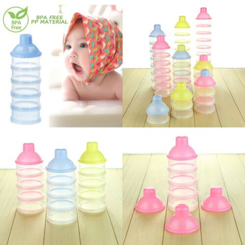US 3-5 Layers Baby Milk Powder Formula Dispenser Stackable Storage Container Box