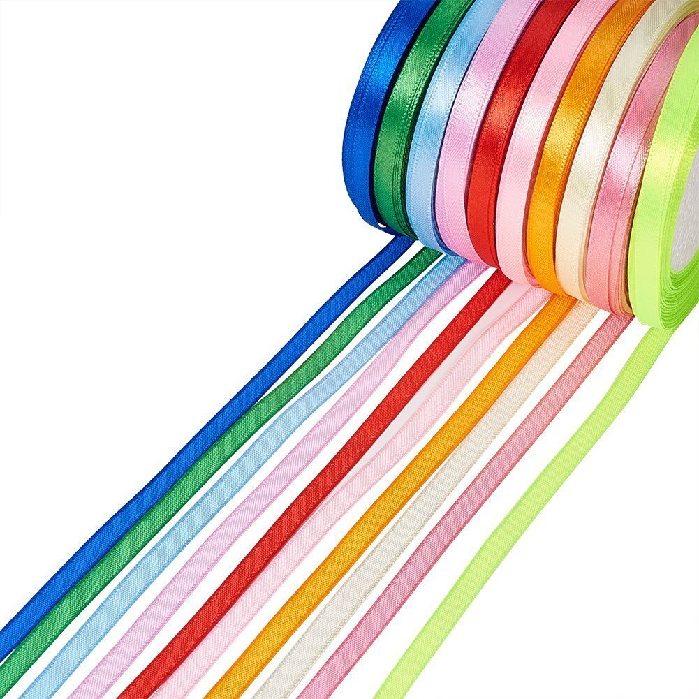 Satin Ribbon Rolls Reels 10mm Widths Double Sided for Cake Decoration 25 Metres